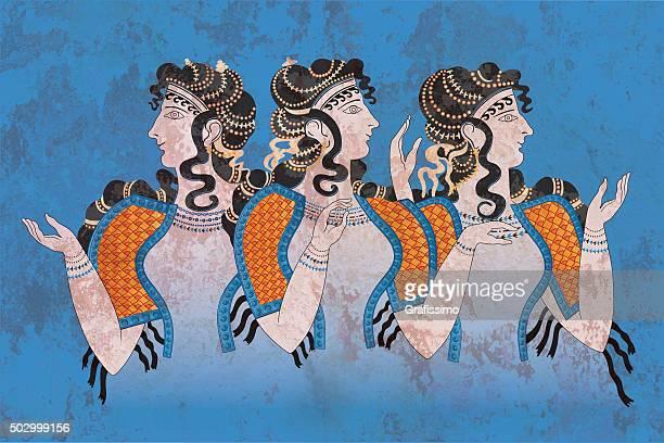 Air Trois femmes Cnossos société minoenne
