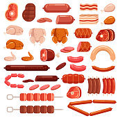 Fresh and cooked chicken pork and cow beef meat cut sliced sausage supermarket assortment product elements collection isolated icon. Gastronomy grocery bacon steak leg concept. Vector flat cartoon ill