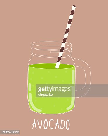 Fresh Avocado Smoothie. Healthy Food. Vector Illustration : Vector Art