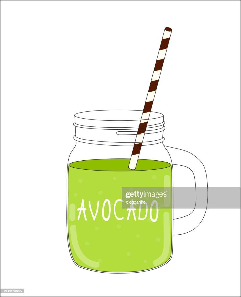 Fresh Avocado Smoothie. Healthy Food. Vector Illustration : Vector Art