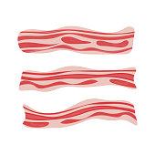 Fresh bacon stripe. Pork meat. Healthy tasty breakfast. Vector illustration set in flat style