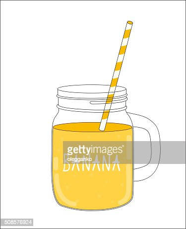 Fresh Banana Smoothie. Healthy Food. Vector Illustration : Vector Art