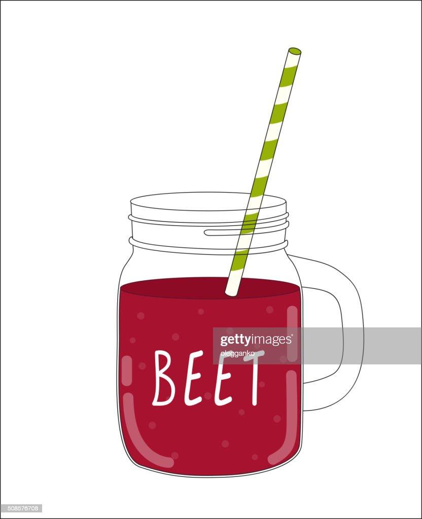Frische Rote Bete-Smoothie. Gesunde Speisen. Vektor-Illustration : Vektorgrafik