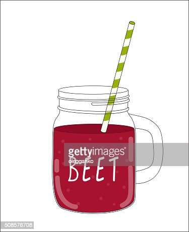Betterave frais Smoothie. Nourriture saine. Illustration vectorielle : Clipart vectoriel