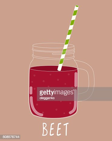 Fresh Beet Smoothie. Healthy Food. Vector Illustration : Vector Art