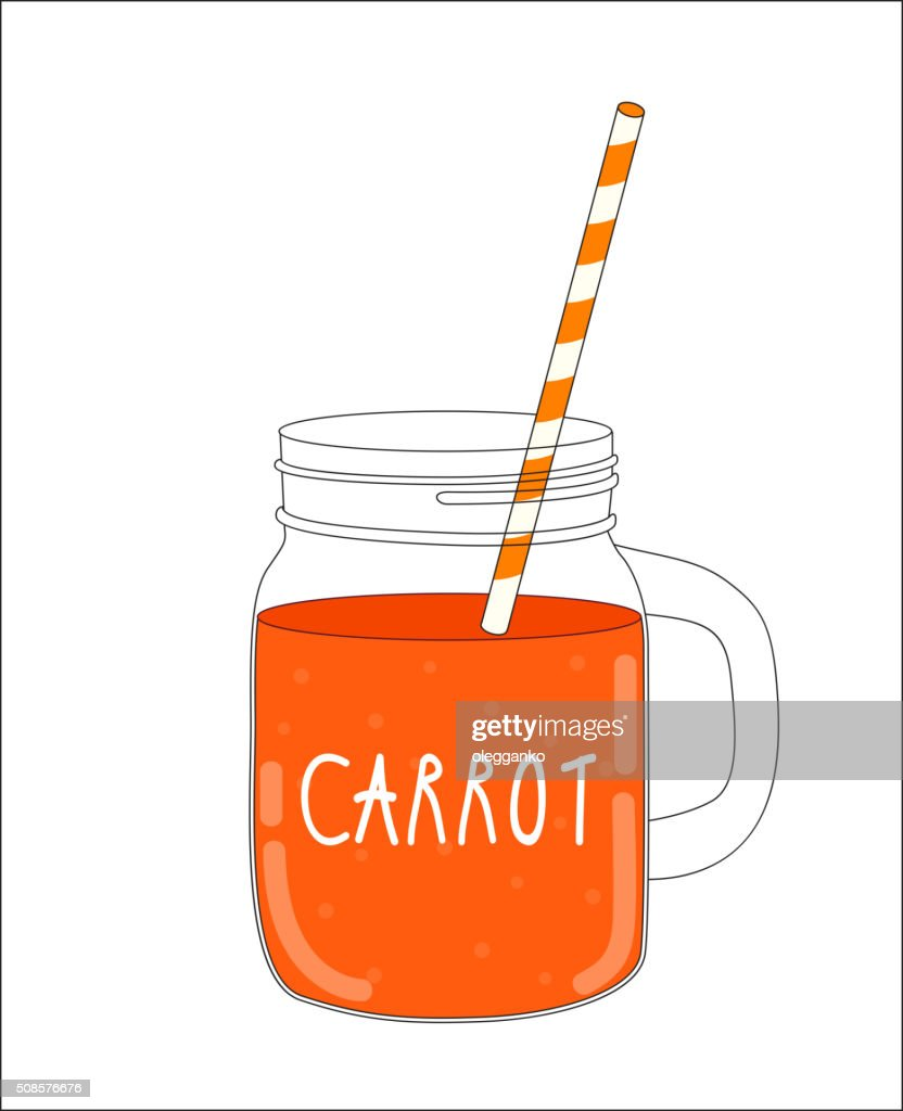 Fresh Carrot Smoothie. Healthy Food. Vector Illustration : Vectorkunst