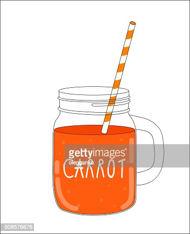 Fresh Carrot Smoothie. Healthy Food. Vector Illustration : Vector Art