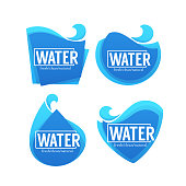 fresh, clean, natural, vector collection of water stickers, labels, banners