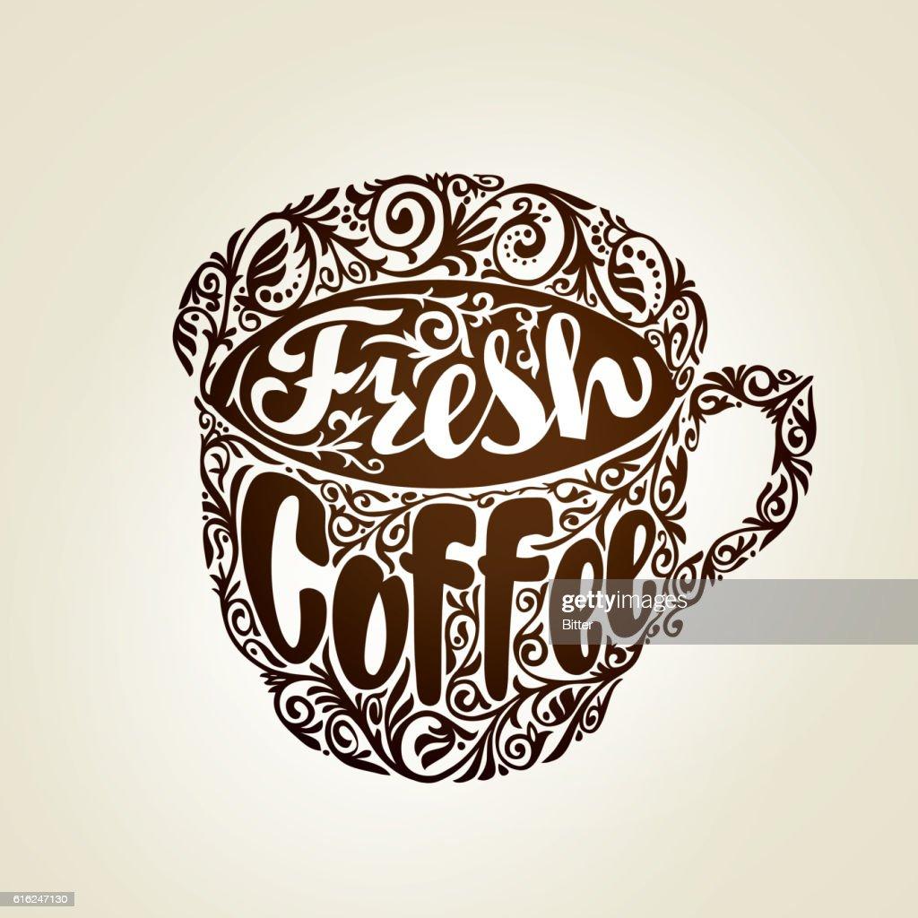 Fresh Coffee. Cup with decorative patterns. Vector illustration : Vector Art