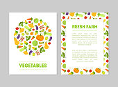 Fresh Farm Vegetables Banner Templates Set with Fresh Organic Food and Place for Text, Design Element can Be Used for Grocery Shop, Farm Market, Cafe Menu Colorful Vector Illustration.