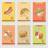 Fresh Fast Food Hand Drawn Cards Brochure Menu with Burger, Sandwich and Hot Dog. Food and Drink. Vector illustration