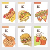 Fresh Fast Food Hand Drawn Cards Brochure Menu with Burger, Sandwich and Fries. Food and Drink. Vector illustration