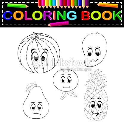 Fruta Fresca Con Cara De Libro Para Colorear Arte vectorial | Thinkstock