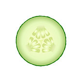 Fresh green cucumber slice isolated on white background. Vector illustration for design of vegetarian menu, organic products or cosmetics packaging.