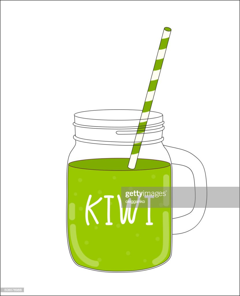 Fresh Kiwi Smoothie. Healthy Food. Vector Illustration : Vector Art