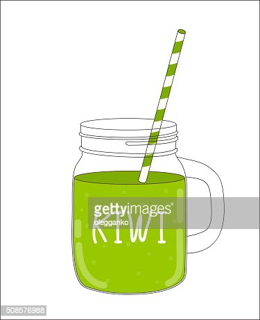 Fresh Kiwi Smoothie. Healthy Food. Vector Illustration : Vector Art