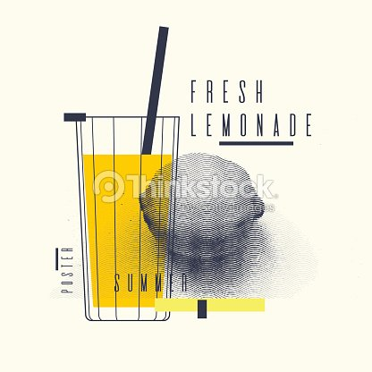 Fresh lemonade stylish poster, trendy graphics : stock vector