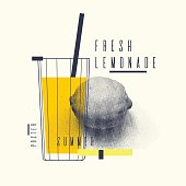 Fresh lemonade stylish poster, trendy graphics. Vector illustration