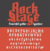 Fresh new powerfull gothic typeface - Rock Stage. Vector alphabet