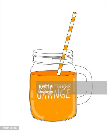 Fresh Orange Smoothie. Healthy Food. Vector Illustration : Vectorkunst