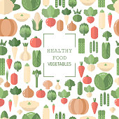 Background with vegetables icons. Organic food. Flat design.