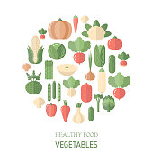 Colorful vegetables icons in round isolated on white. Flat design.