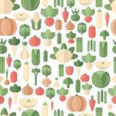 Vegetables seamless pattern. Organic food. Flat design.