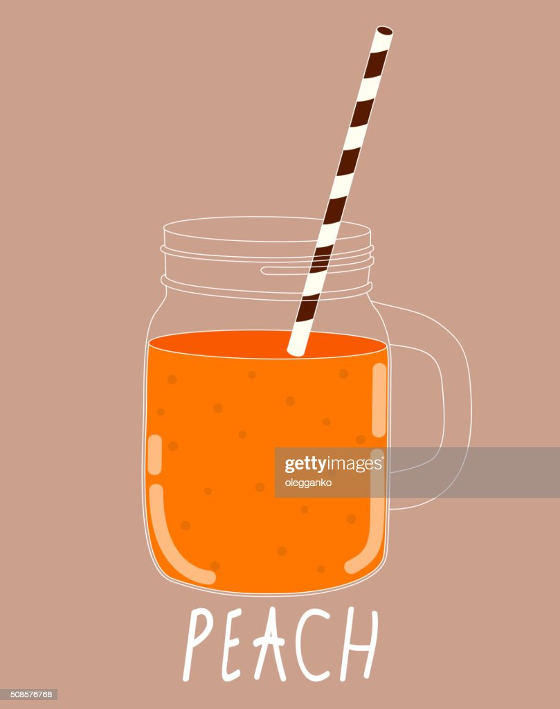 Fresh Peach Smoothie. Healthy Food. Vector Illustration : Vector Art