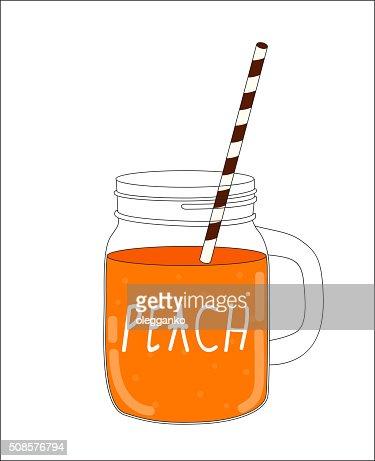 Fresh Peach Smoothie. Healthy Food. Vector Illustration : Vector Art