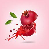 Pomegranate half cut in splash on pink background, vector illustration.
