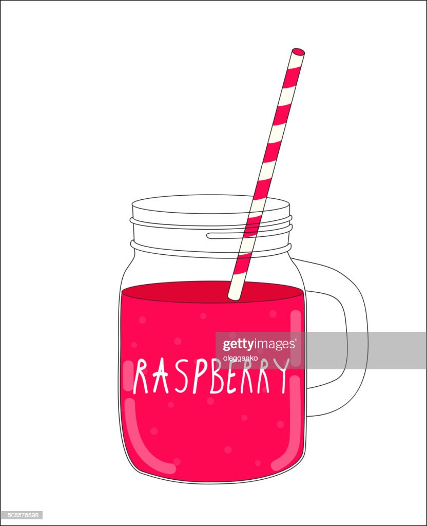 Fresh Raspberry Smoothie. Healthy Food. Vector Illustration : Vector Art