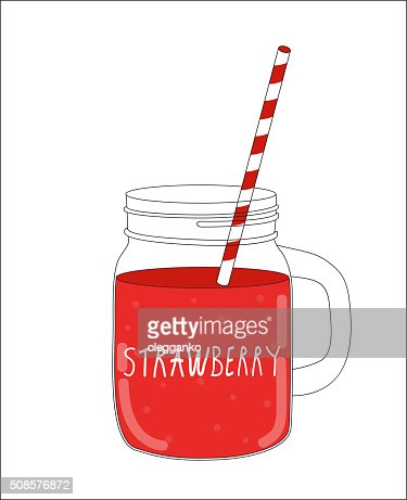 Fresh Strawberry Smoothie. Healthy Food. Vector Illustration : Vectorkunst