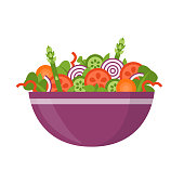 Bowl of fresh vegetable salad, healthy food. Flat style. Vector illustration isolated on white background.