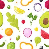 Fresh vegetables seamless pattern, healthy eating, vegetarian salad and agriculture concept. Vector illustration