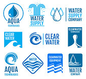 Fresh water vector logos and labels set with aqua symbols. Fresh drop clean water logo. illustration of drink water label
