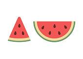 Fresh watermelon slice icon, flat design vector illustration.