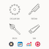 Fretsaw and repair tools icons. Circular saw and brush linear signs. Calendar, Graph chart and Cogwheel signs. Download colored web icon. Vector