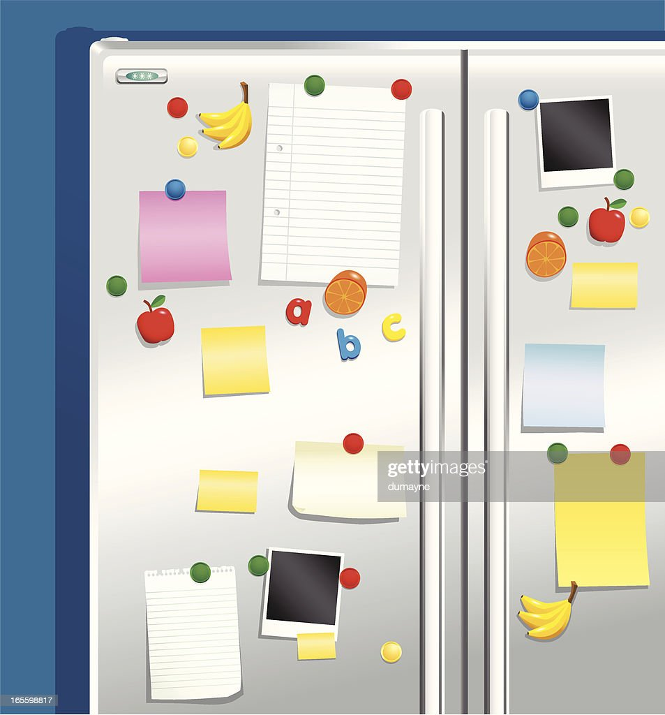 Fridge door with magnets and notepaper : Vector Art