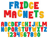 A colorful decorative alphabet in the style of children's refrigerator magnets.