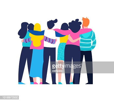 Friend group hug of diverse people isolated : stock vector