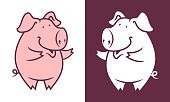 Dancing pig mascot. Cute piggy silhouette character.