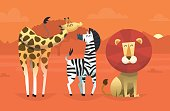 Portrait of friendly wild savanna animals taking picture in the desert on sunset with mountains on the background. Vector illustration