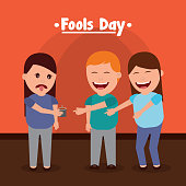 friends make prank a woman with bad drink fools day vector illustration