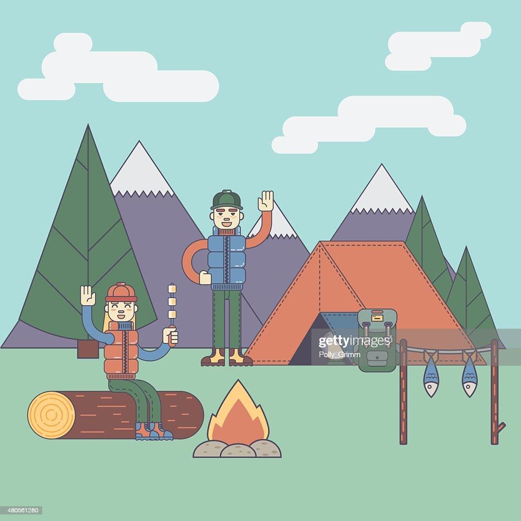 Friends next to camping fire : Vector Art