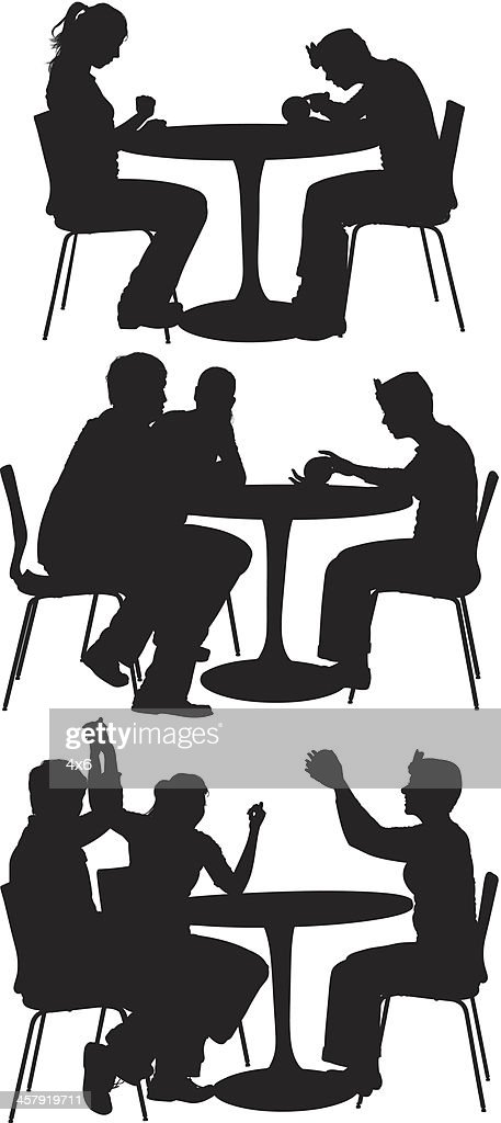 round table clipart black and white. friends sitting around round table : vector art clipart black and white