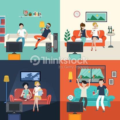 Friends Watching TV Program In The Living Room Vector Art