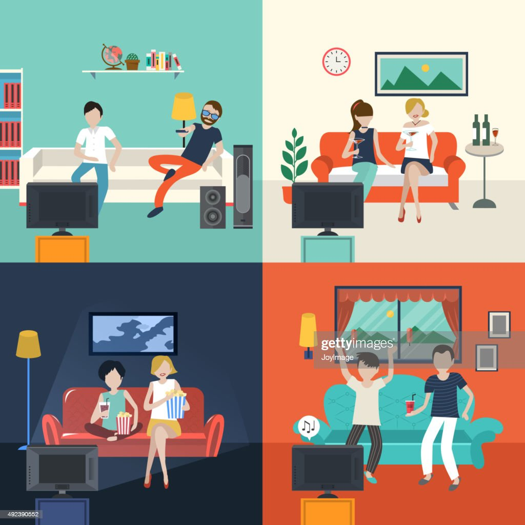 Friends Watching TV Program In The Living Room : Vector Art