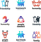Friendship community friendly team people together cooperation vector logo set. Illustration of teamwork and partnership, together unity icons