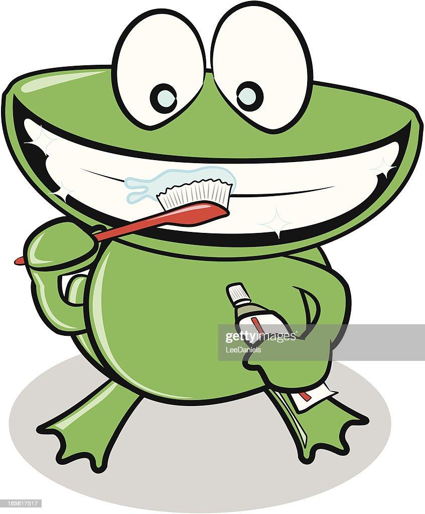 Cartoon brushing teeth