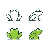 Minimalistic stylized catroon frog logo. Line icon and colored version, front view and profile. Simple frog or toad vector illustration set.